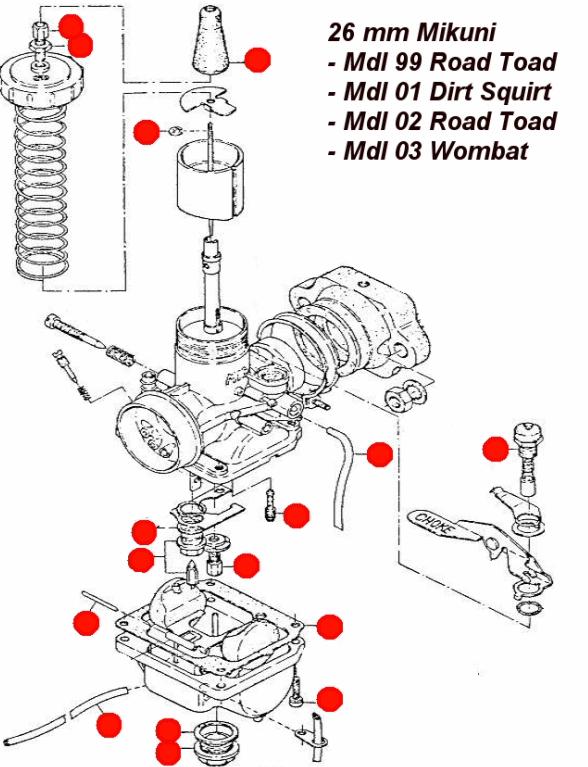 model 99 01 02 03    26mm carburetor rebuild kit